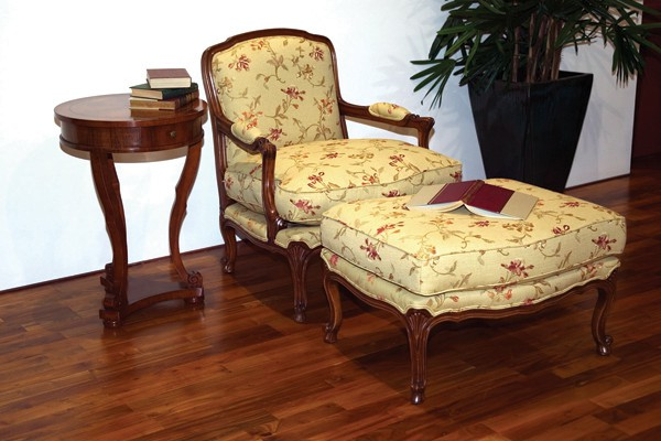 LOUIS CHAIR AND OTTOMAN
