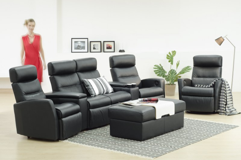 IMG LEATHER DIVANI RECLINER LOUNGE SUITE WITH OTTOMAN