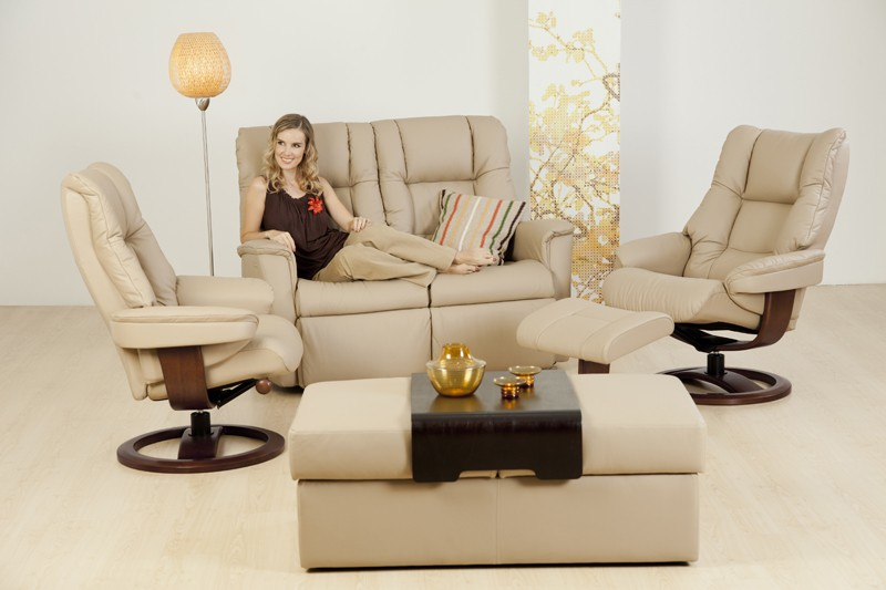 IMG LEATHER NORDIC 60 RECLINER CHAIRS + BRANDO 2 SEATER RECLINER LOUNGE