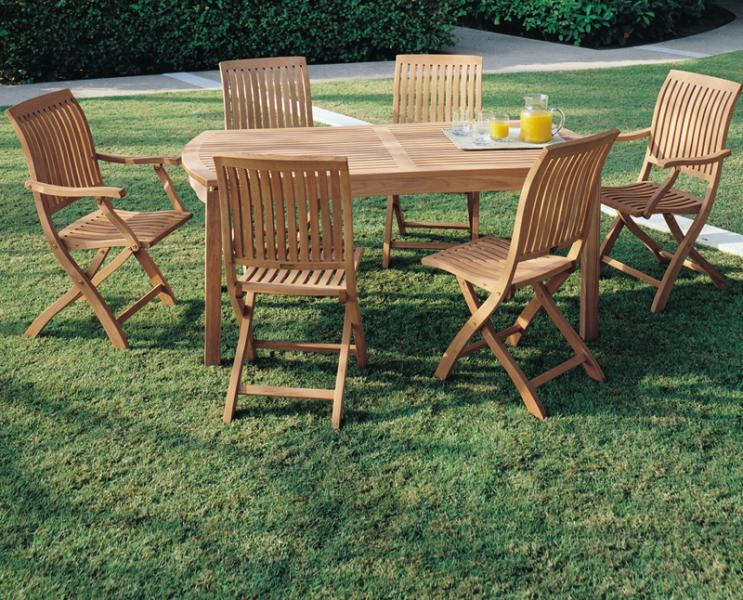 COTSWOLD OUTDOOR TEAK NEWPORT TEAK ARM & SIDE CHAIRS WITH NEWPORTS