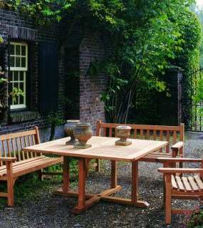 COTSWOLD OUTDOOR TEAK YORK BENCHES & CHELSEA 145CM SQUARE DINING TABLE