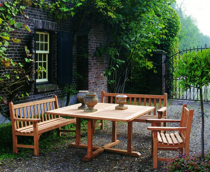 COTSWOLD OUTDOOR TEAK YORK BENCHES   CHELSEA 145CM SQUARE DINING TABLE. Cotswold Teak Brand   Durable  Eye Catching and Finest