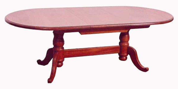 TWIN PEDESTAL OVAL DINING TABLE