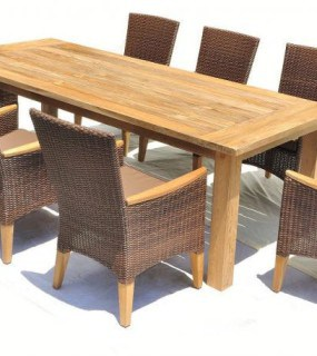 RESIN WICKER WITH TEAK ARMS AND FEET