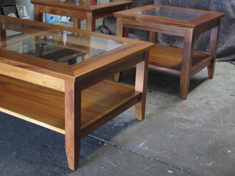BLACKWOOD LAMP TABLE WITH GLASS INSERT
